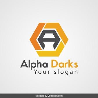 Orange abstrakte sechskant-logo