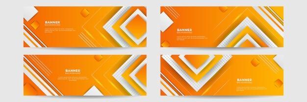 Orange abstrakter bannerhintergrund. vorlage für geschäftskonferenzen. vektor-lebendiges orange-gelbes banner für social-media-event-promo