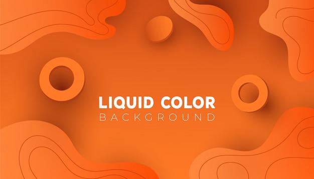 Orange abstrakter hintergrund der steigung mit flüssigen wellen und kreisformen