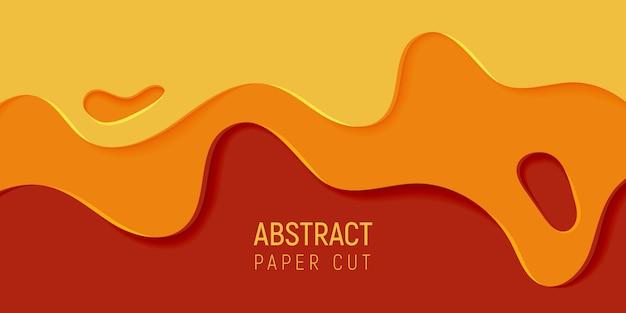 Orange abstrakter papierkunst-schlammhintergrund. fahne mit schlammzusammenfassungshintergrund mit gelbem und orange papier schnitt wellen.
