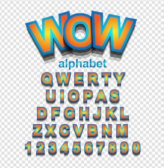 Orange alphabetschrift mit buchstaben und zahlen