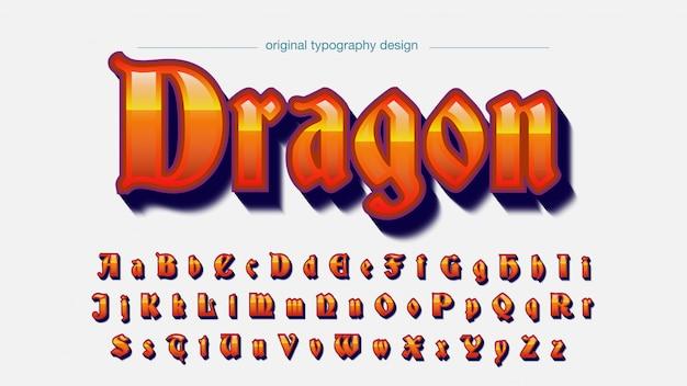 Orange alte schrift mittelalterliche typografie