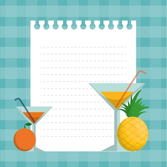 Orange ananas cocktails und papier design