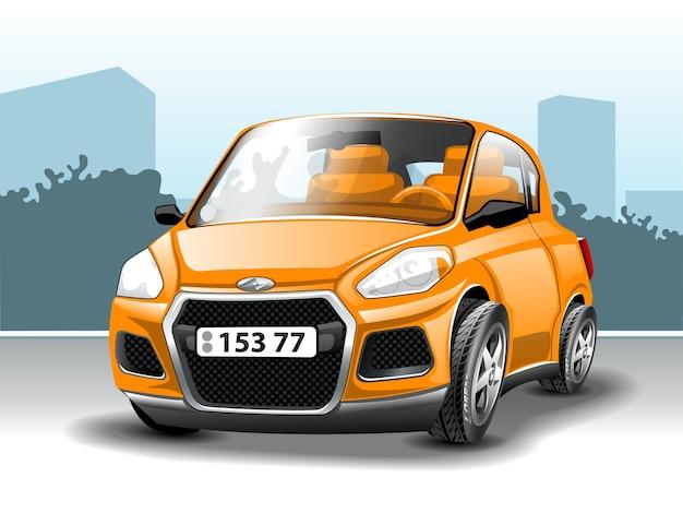 Orange auto im cartoon-stil