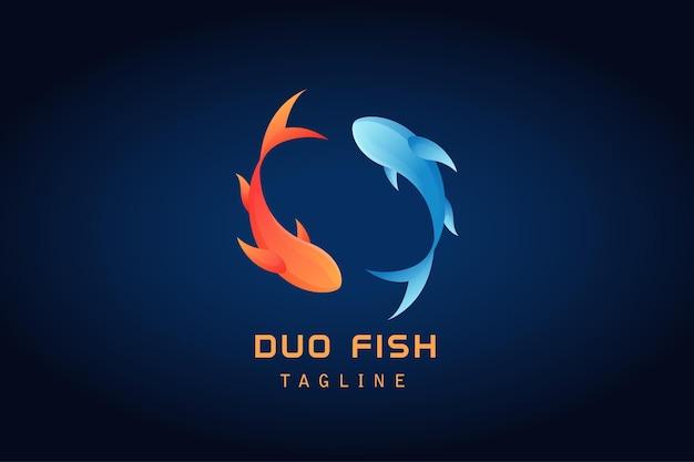 Orange blaues logo mit zwei fischen mit farbverlauf
