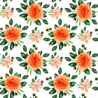 Orange blumen aquarell nahtlose muster