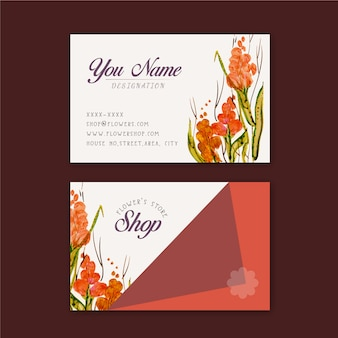 Orange blumengeschäft visitenkarte