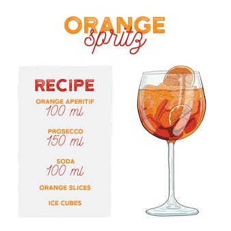 Orange cocktail-vektor-illustration spritz-getränk-rezept