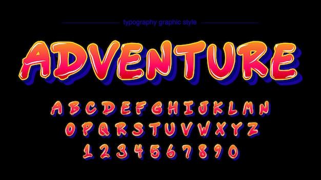 Orange dunkelblaue cartoon typografie design