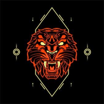 Orange farbe des wilden tiger head mit abstrakten geometrischen verzierungen