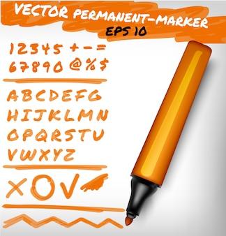 Orange farbe offener permanenter markierungsstift, handgeschriebene ziffern, ziffern, zahlen- und alphabetprüfzeichen sowie pluszeile. filzstiftillustration