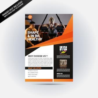 Orange fitnessstudio flyer vorlage