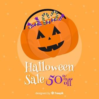 Orange flache halloween-verkauf