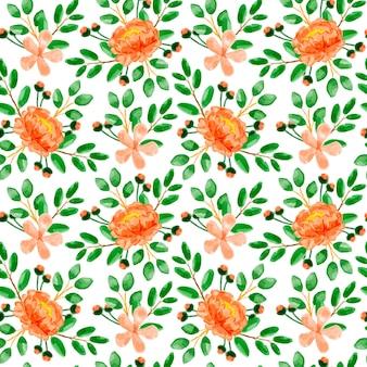 Orange floral aquarell nahtlose muster