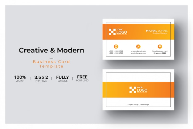 Orange form visitenkarte