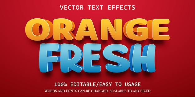 Orange frische texteffektschablone