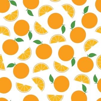 Orange frucht-nahtloses muster-hintergrund-vektor-design