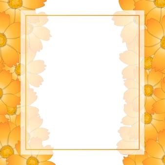 Orange gelbe kosmos-blumen-fahnen-karten-grenze