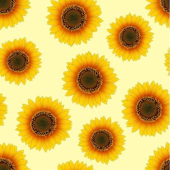 Orange gelbe sonnenblume nahtlos auf beige elfenbein-hintergrund