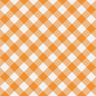 Orange gingham nahtloses muster diagonalstreifen textur aus raute für karierte tischdecken