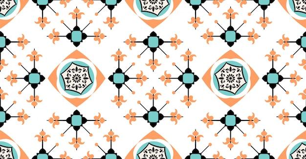 Orange grün-blaues geometrisches nahtloses muster in der afrikanischen art mit quadratischer stammes- kreisform