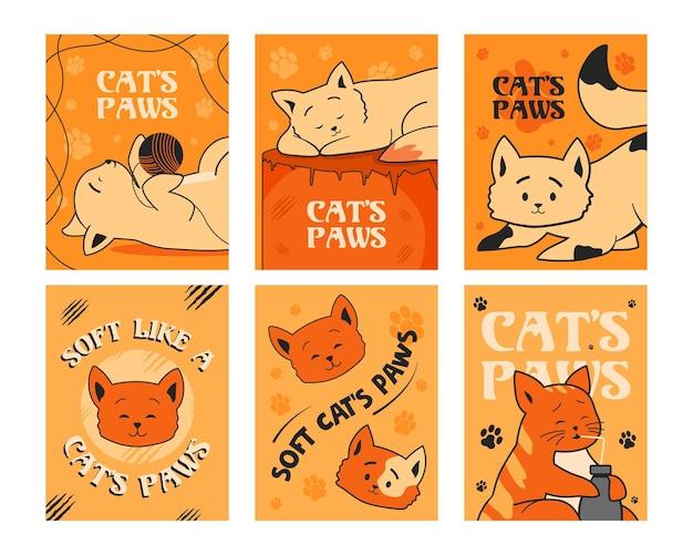Orange grußkartenset mit schönen katzen. Kostenlosen Vektoren