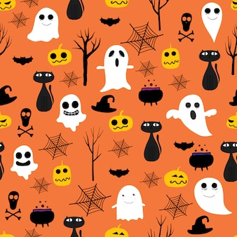 Orange halloween nahtlose muster
