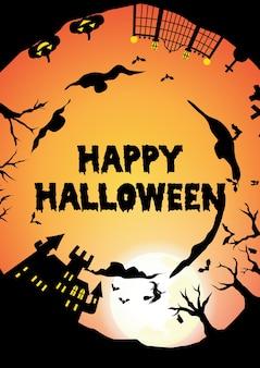 Orange halloween party kreis silhouette gruß