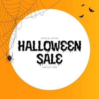Orange halloween-verkaufsplakat mit fledermaus und spinne. vektorillustration