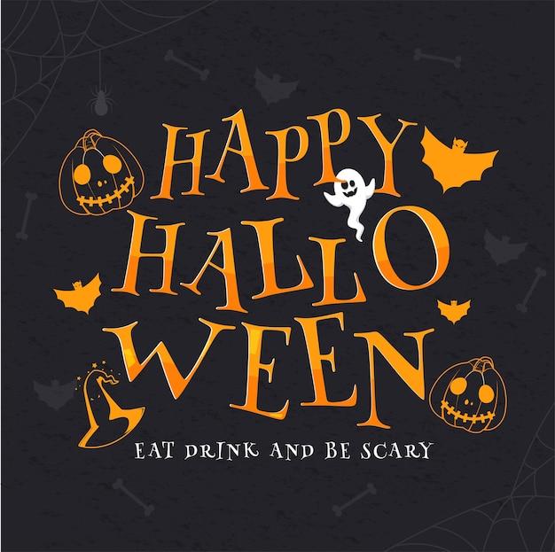 Orange happy halloween text mit cartoon ghost