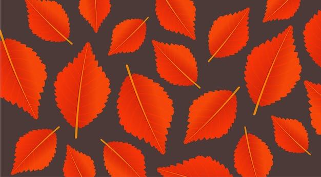 Orange hintergrund des herbstes mit blättern