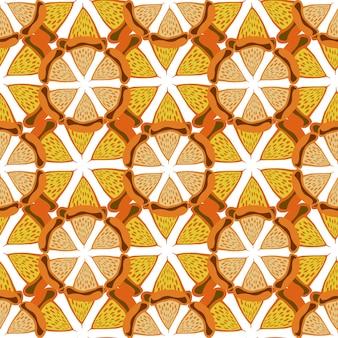 Orange hintergrund. helles nahtloses muster. übergeben sie gezogenen vektor für gewebe, gewebe, verpackung und verpackung.