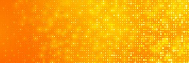 Orange hintergrund mit einer mischung aus leuchtenden punkten.