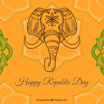 Orange hintergrund mit elefanten für indischen tag der republik