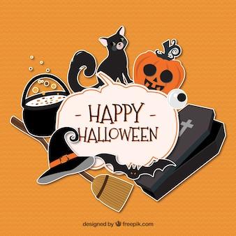 Orange hintergrund mit halloween-elemente