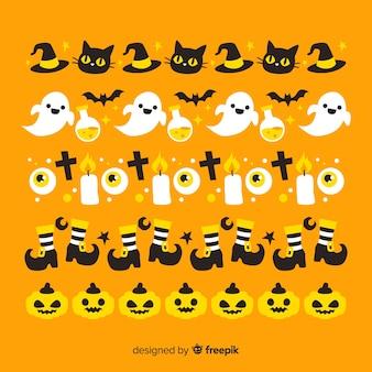 Orange hintergrund mit halloween-grenzsammlung