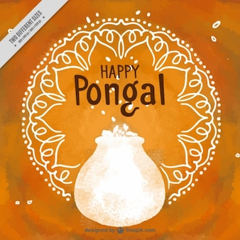 Orange hintergrund mit mandalas und topf in aquarell-stil