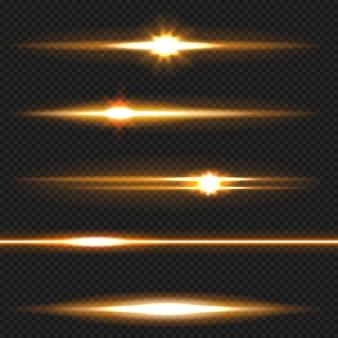 Orange horizontaler blendenfleckensatz. laserstrahlen, horizontale lichtstrahlen.