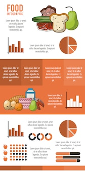 Orange infografik der nahrung und des lebensmittels