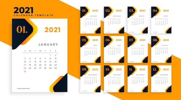 Orange kalenderschablonenentwurf des modernen neuen jahres 2021