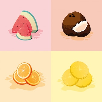 Orange kokosnuss und ananas der wassermelone