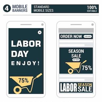 Orange labor day mobil-banner-design-set