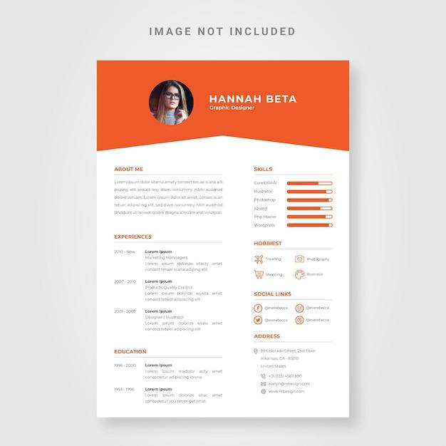 Orange lebenslauf-design-vorlage