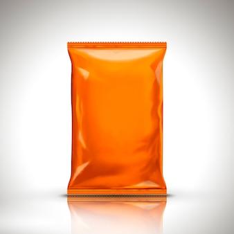 Orange leere folienbeutelverpackung