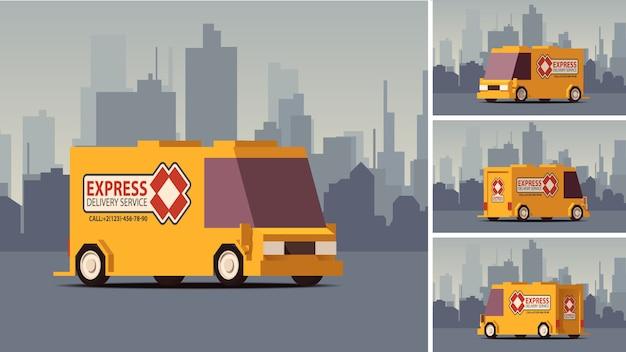 Orange lieferwagen auf stadtlandschaftshintergrund. illustration im isoflat-stil.