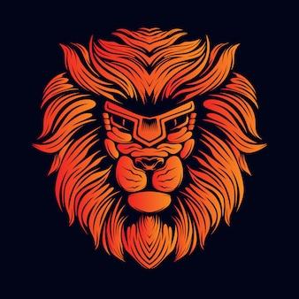 Orange löwenkopfillustration