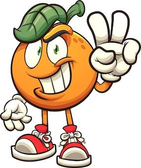 Orange macht das handfriedenszeichen
