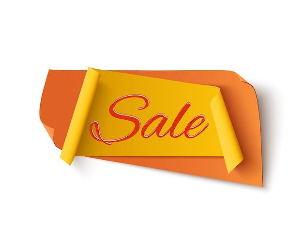 Orange mit gelb, verkaufsfahne, lokalisiert auf weißem hintergrund. vorlage für poster oder broschüre.