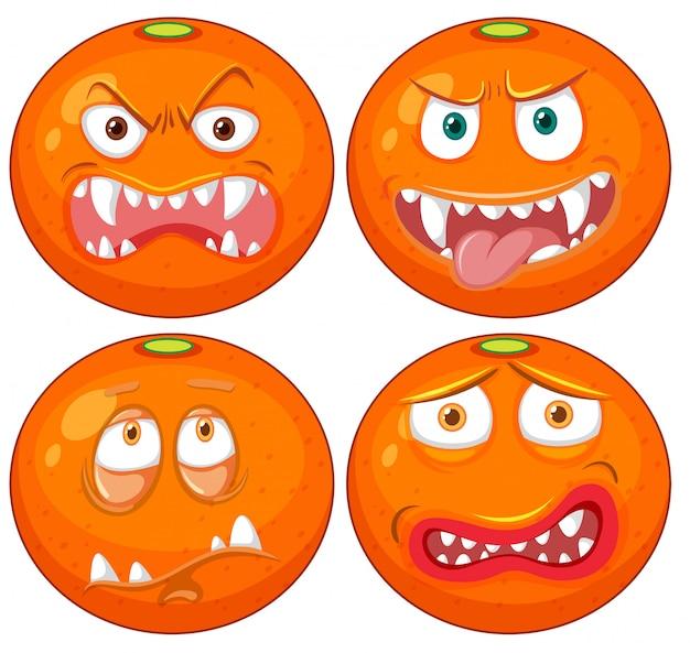 Orange mit gesichtsausdruck