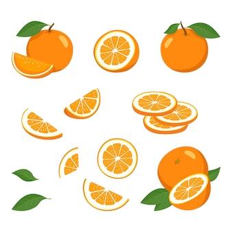 Orange mit scheiben mit blättern gesetzt